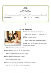 At the restaurant - 8th form Test