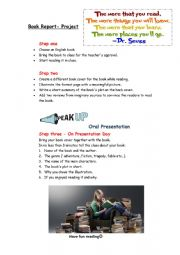 English Worksheet: Book Report project - reading, writing, speaking