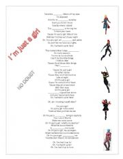 English Worksheet: I´m just a girl - No Doubt