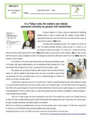 English Worksheet: Test - M6 - Assisting Robots