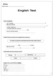 English Worksheet: Test for 6th form students