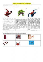 Superhero written comprehension