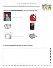 English Worksheet: Means of Communication. Then and Now