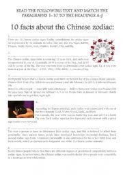 English Worksheet: CHINESE ZODIAC SIGNS