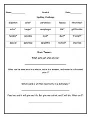 English Worksheet: Spelling challenge and brain teasers for Grade 4