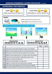 English Worksheet: Expressing Preferences & Making Comparisons
