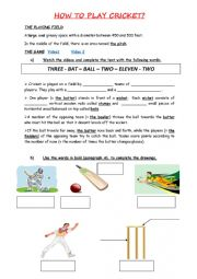 English Worksheet: How to play cricket