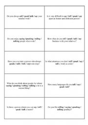 English Worksheet: Say / Tell / Talk / Speak