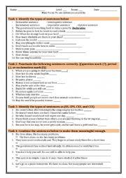 English Worksheet: Practice of types of sentences
