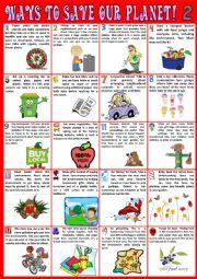 English Worksheet: Ways you can save the planet 2 - Poster - Reading - Debating
