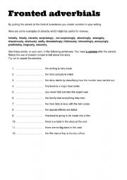English Worksheet: Fronted adverbials for writing reviews FCE CAE CPE