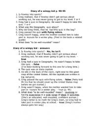 English Worksheet: Diary of a wimpy kid pages 90-95
