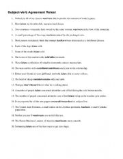 English Worksheet: Subject-Verb Agreement quiz