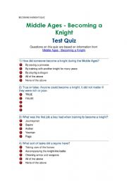 English Worksheet: BECOMING A KNIGHT QUIZ MIDDLE AGES