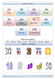 Numbers 10 -100 worksheet