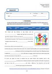 English Worksheet: English test 10th form