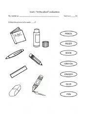 School Supplies Test - ESL worksheet by Daisyah