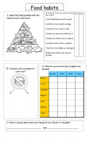 English Worksheet: Food and health