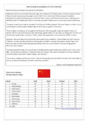 English Worksheet: Why is China so successful at the Olympics?