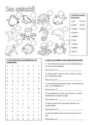 English Worksheet: Sea animals!