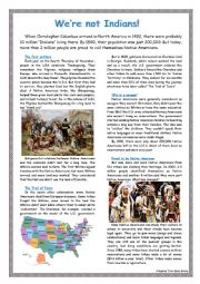 English Worksheet: We�re not Indians!