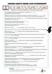English Worksheet: Idioms about Crime and Punishment