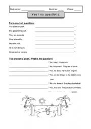 English Worksheet: yes no questions