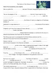 English Worksheet: The History of the Statue of Liberty