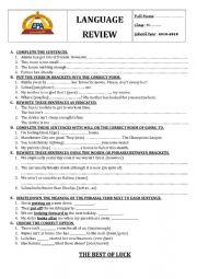 mixed language worksheet