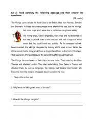 English Worksheet: Reading Comprehension: The Vikings, Grammar Exercises Plural, Adjectives or Adverbs, Compound Words, Similes, Conjunctions, Correct the mistake, Opposties, Male or Female, Negatives, Collective Nouns and Writing