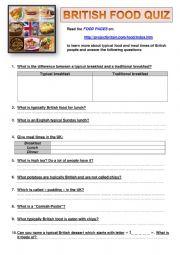 English Worksheet: BRITISH FOOD QUIZ