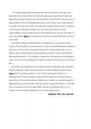 English Worksheet: reading comprehension deforestation