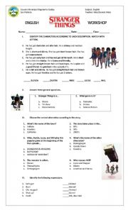 English Worksheet: Stranger Things Worksheet