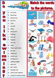 English Worksheet: Do you like swimming - Pictionary and Vocabulary. + Key