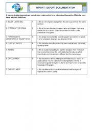 English Worksheet: Logistics - Import and Export Documentation