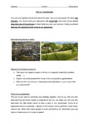 English Worksheet: Speaking Exam - Paired Activity 4 (City & Countryside)