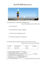 English Worksheet: My GAP YEAR Experience - listening and discussion