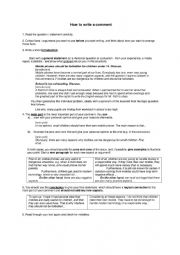 English Worksheet: How to write a comment