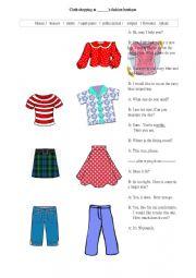 English Worksheet: Cloth shopping  vocabulary and dialogue