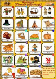 English Worksheet: Happy Thanksgiving - Pictionary + KEY