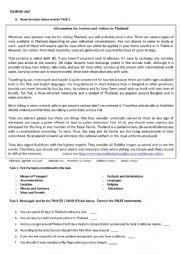 English Worksheet: Thailand - Tourism