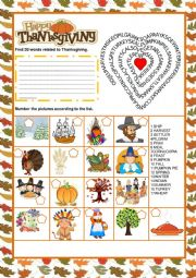 English Worksheet: Thanksgiving  - Wordsearch