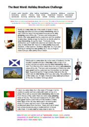 English Worksheet: Travel Agent Adjectives: Gradable and Non-gradable Consolidation