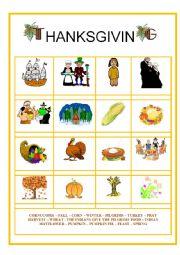 English Worksheet: Pictionary = Thanksgiving