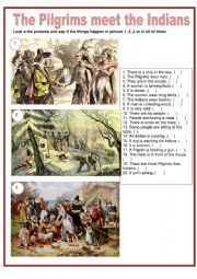 English Worksheet: Thanksgiving - The Pilgrims meet the Indians