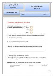Mid term 1 English test  8th form
