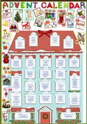 English Worksheet: Advent Calendar 2 + key