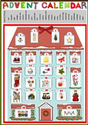 English Worksheet: Advent Calendar 1 + key