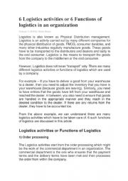 English Worksheet: 6 Logistics activities or 6 Functions of logistics in an organization WITH VOCABULARY ACTIVITY