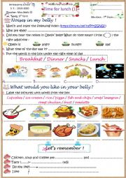 English Worksheet: time for lunch 1